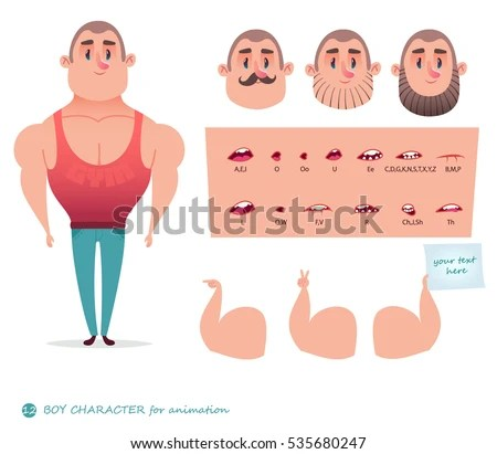 Man Character Your Scenes Parts Body Template Stock Vector (Royalty