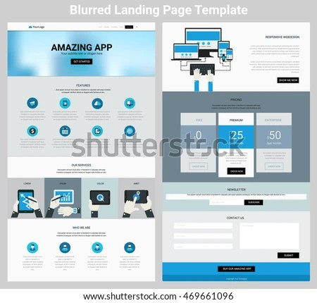 Material Design Responsive Landing Page One Stock Vector (Royalty