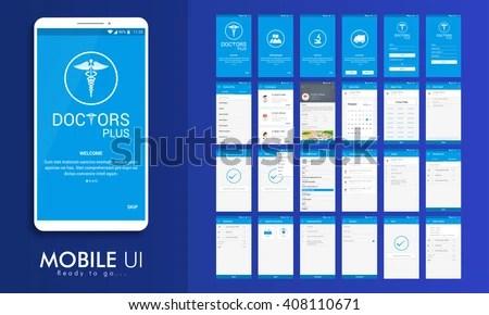 Material Design UI UX GUI Screens Stock Vector (Royalty Free