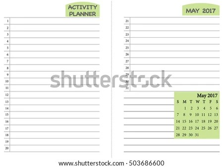 May 2017 Calendar Template Monthly Planner Stock Vector (Royalty