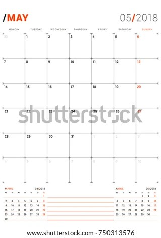 May 2018 Vector Print Template Monthly Stock Vector (Royalty Free