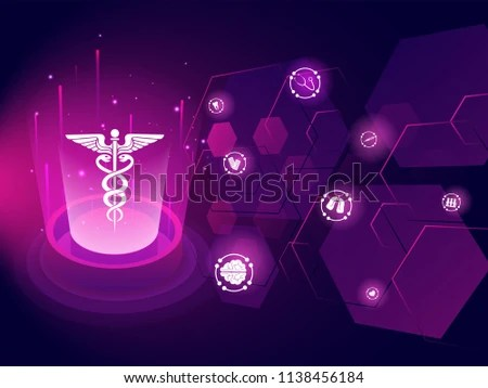 Medical Biotechnology Innovation Concept Illustration Caduceus Stock