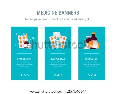 Medicine Design Web Banners Advertisement Mobile Stock Vector