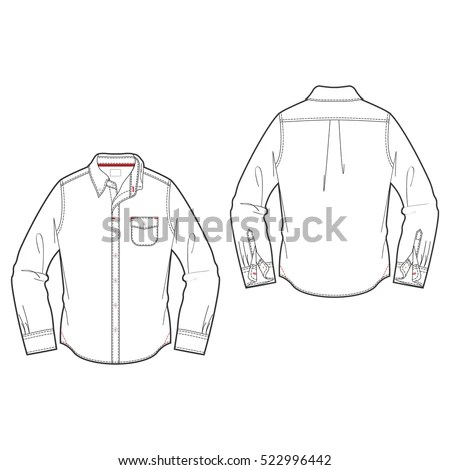 Men Oxford Shirt Template Stock Vector (Royalty Free) 522996442