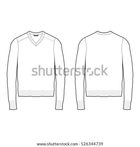Men Vneck Sweater Template Stock Vector (Royalty Free) 526344739