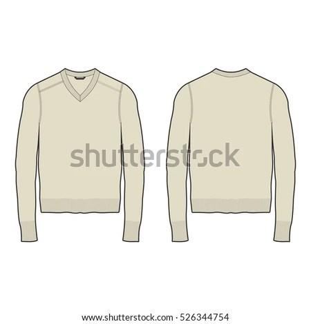 Men Vneck Sweater Template Stock Vector (Royalty Free) 526344754