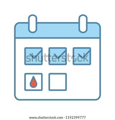 Menstrual Calendar Color Icon Period Tracker Stock Vector (Royalty