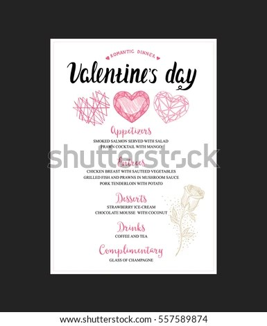 Menu Template Valentine Day Dinner Flyer Stock Vector (Royalty Free
