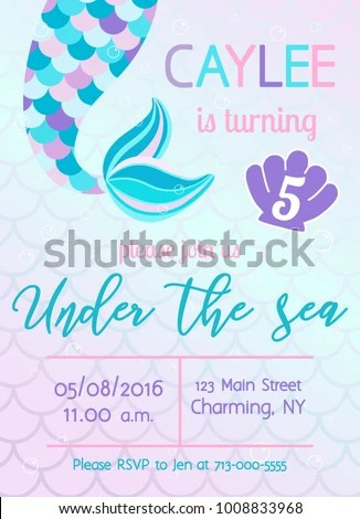 Mermaid Birthday Invitation Under Sea Theme Stock Vector (Royalty