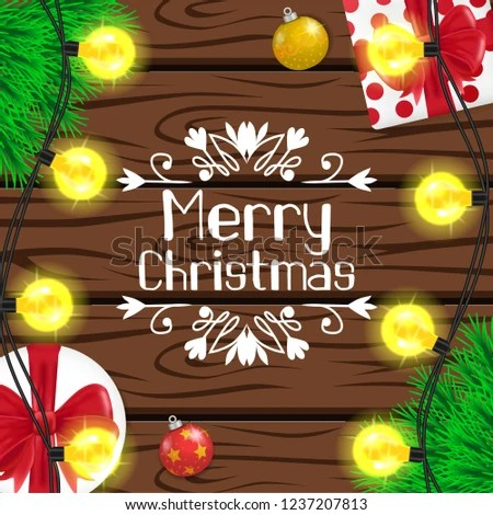 Merry Christmas Banner Template On Wood Stock Vector (Royalty Free