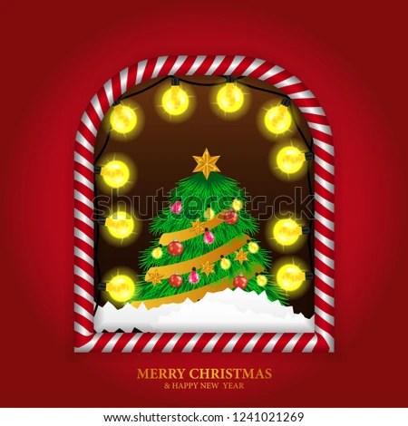 Merry Christmas Banner Template Windows Frame Stock Vector (Royalty