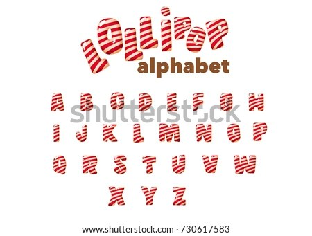Merry Christmas Candy Cane Font ABC Stock Vector (Royalty Free