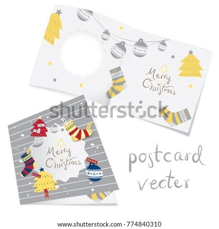 Merry Christmas Card Template Design Individual Stock Vector
