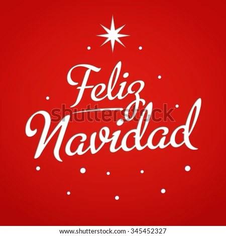 Merry Christmas Card Template Greetings Spanish Stock Vector