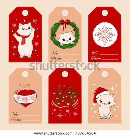 Merry Christmas Gift Tags Template Set Stock Vector (Royalty Free