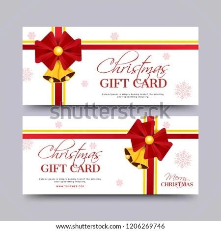 Merry Christmas Gift Voucher Coupon Horizontal Stock Vector (Royalty