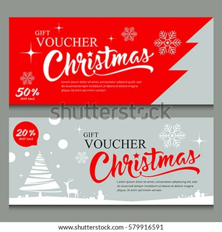 Merry Christmas Gift Voucher Template Design Stock Vector (Royalty