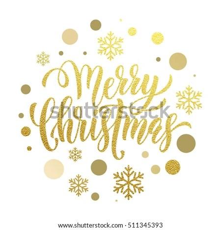 Merry Christmas Gold Glitter Lettering Design Stock Vector (Royalty