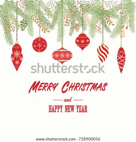 Merry Christmas Happy New Year Card Christmas Stock Vector (Royalty