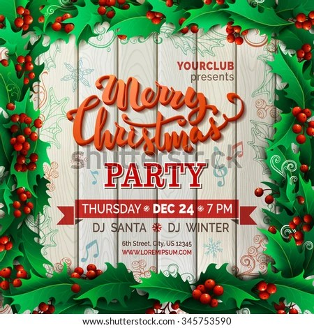 Merry Christmas Music Party Template Vector Stock Vector (Royalty