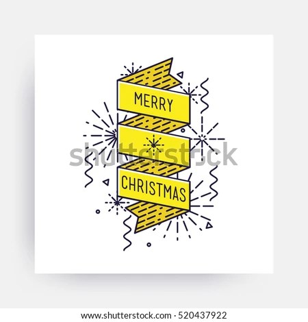 Merry Christmas New Year Design Linear Stock Vector (Royalty Free