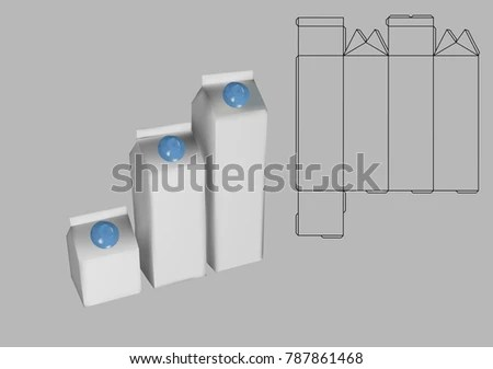 Milk Carton Box Template On Grey Stock Vector (Royalty Free
