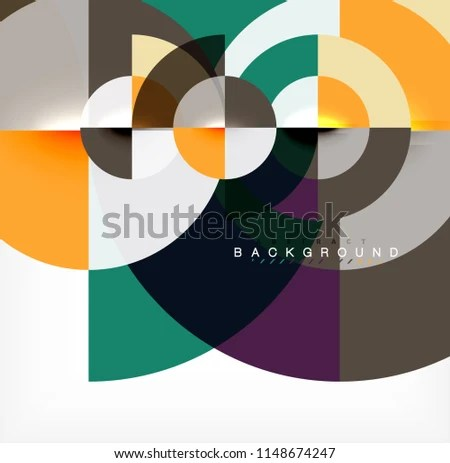 Minimal Circle Abstract Background Design Multicolored Stock Vector