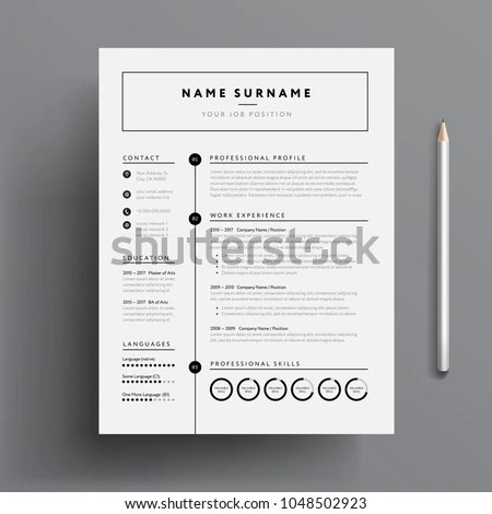 Minimal Professional CV Resume Template Super Stock Vector (Royalty