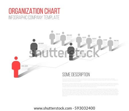 Minimalist Company Organization Hierarchy 3 D Chart Stock Vector