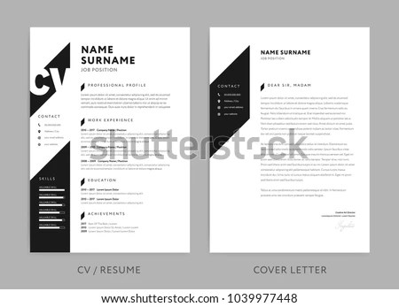 Minimalist CV Resume Cover Letter Minimal Stock Vector (Royalty Free