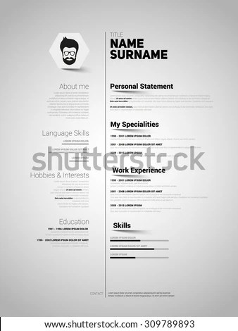 Minimalist CV Resume Template Simple Design Stock Vector (Royalty