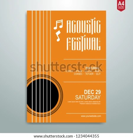Minimalist Music Poster Flyer Brochure Template Stock Vector
