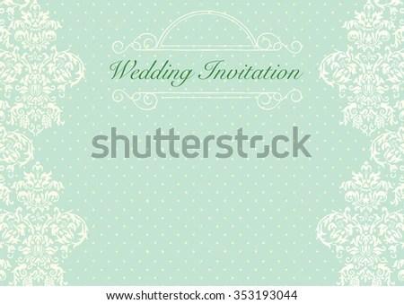 Mint Green Wedding Invitation Background Stock Vector (Royalty Free