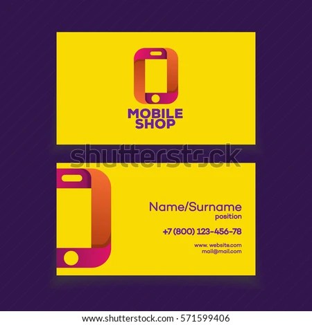 Mobile Shop Business Card Design Template Stock Vector (Royalty Free