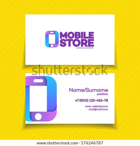Mobile Store Business Card Design Template Stock Vector (Royalty