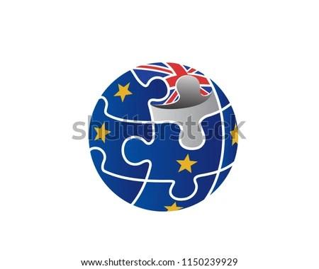 Modern Brexit Globe Puzzle Logo Illustration Stock Vector (Royalty