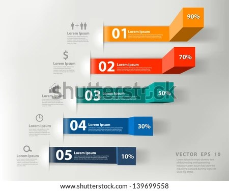 Modern Business Steps Success Charts Graphs Stock Vector (Royalty