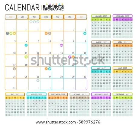 Modern Calendar 2017 Template Design Place Stock Vector (Royalty