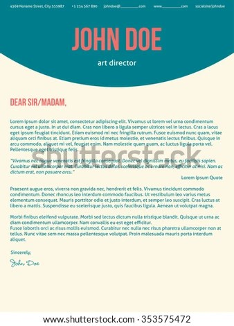 Modern Cover Letter Cv Resume Template Stock Vector (Royalty Free