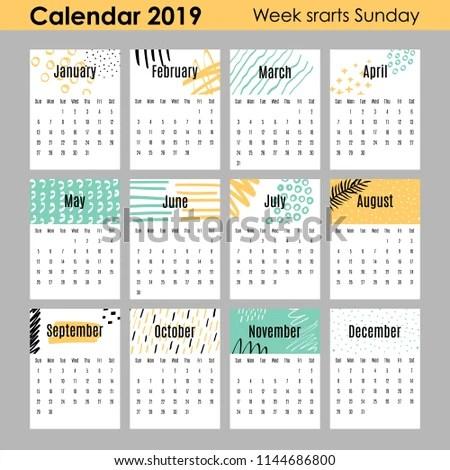 Modern Creative Calendar 2019 12 Design Stock Vector (Royalty Free
