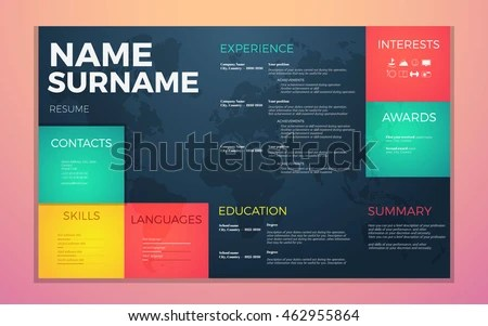 Modern Cv Resume Template Bright Contrast Stock Vector (Royalty Free