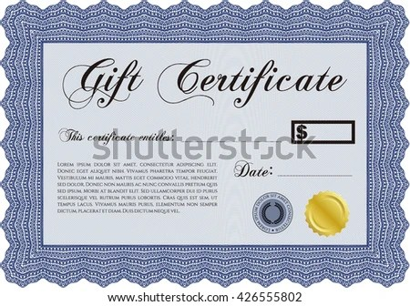 Modern Gift Certificate Template Sophisticated Design Stock Vector