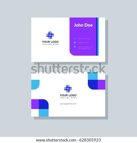 Modern Purple Business Card Template Flat Stock Vector (Royalty Free