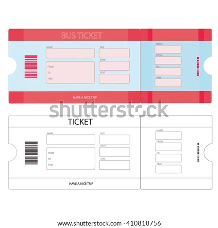 Modern Vector Illustration Bus Tickets Plane Stock Vector (Royalty