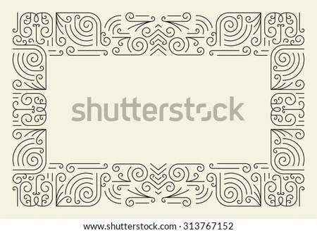 Mono Line Frame Simple Certificate Border Stock Vector (Royalty Free