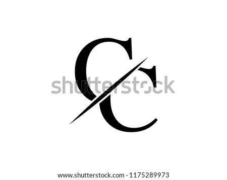 Monogram Logo Letter CC Sliced Stock Vector (Royalty Free