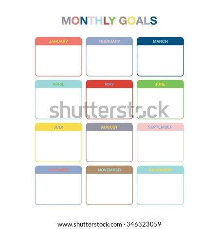 Monthly Goals Calendar Template Year 2016 Stock Vector (Royalty Free