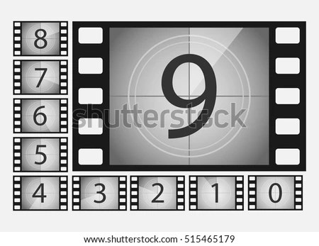 Movie Countdown Numbers Vector Set Countdown Stock Vector (Royalty