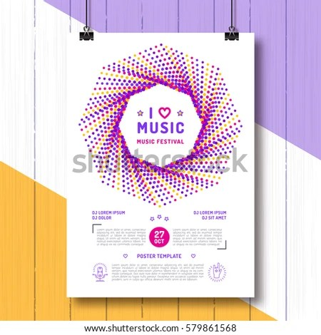 Music Festival Party Poster Template A 4 Stock Vector (Royalty