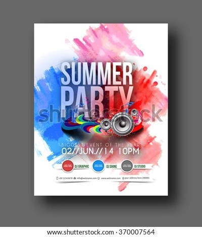 Music Party Brochure Flyer Magazine Cover Stock Vector (Royalty Free